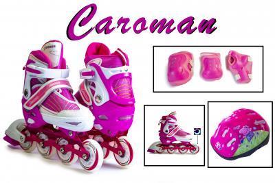 Комплект Роликовые коньки+защита+шлем Caraman малиновые-фото