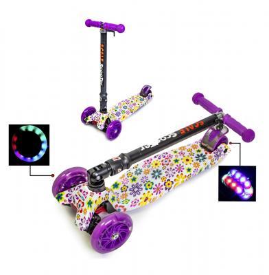 """Самокат Maxi принт """"Фиолетовый цветочек"""" складной руль-фото"""