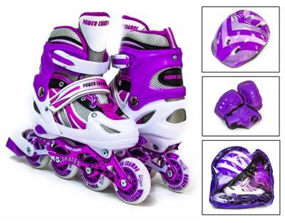 Набор детские ролики с защитой Power Champs Фиолетовые-фото