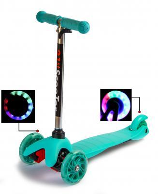 Самокат Детский Micro Mini Best Scooter Бирюзовый Регулируемая Ручка Колеса светятся-фото