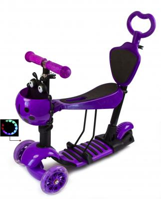 Детский трехколесный самокат Scooter Божья коровка 5 в 1 с сиденьем  Фиолетовый-фото
