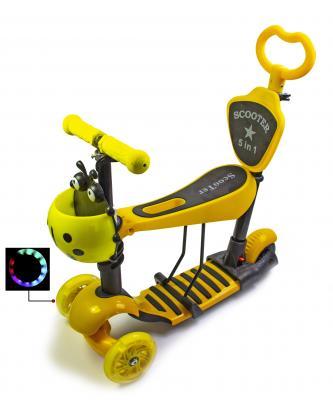 Детский трехколесный самокат Scooter Божья коровка 5 в 1 с сиденьем Желтый-фото