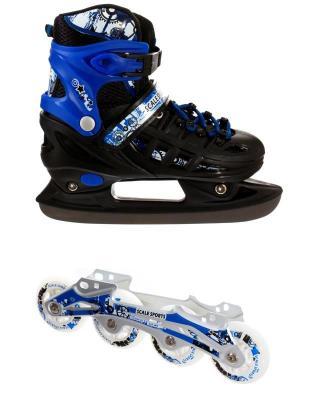 Ролики-коньки Scale Sport. Blue/Black (2в1), размер 34-37-фото