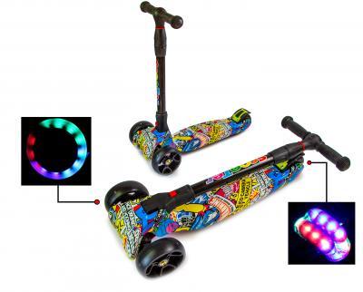 Самокат ScooTer SMART , Принт рисунок Hot Wheels Все колеса светятся!-фото