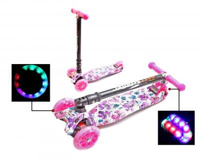 Купить Самокат Детский Maxi Best Scooter с наклоном руля складной Принтом (Рисунок) Маки -фото