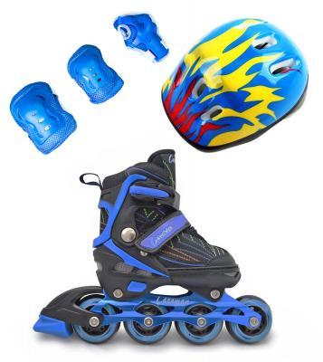 Комплект Роликовые коньки+защита+шлем Caraman синие -фото