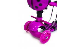 Детский трехколесный самокат Scooter Божья коровка 5 в 1 с сиденьем Розовый-фото