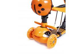 Детский самокат божья коровка 5 в 1 оранжевый-фото