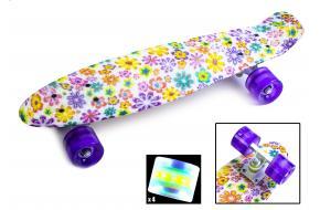 Penny Board. Принт Фиолетовые цветочки. Светящиеся колеса.-фото