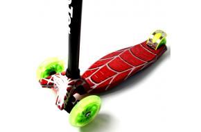 Купить Самокат Детский Maxi Best Scooter c Принтом (Рисунок) Red web. Салатовые светящиеся колеса!-фото