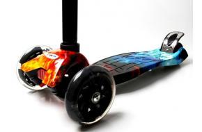 Купить Самокат Детский Maxi Best Scooter c Принтом (Рисунок) Огонь и Лёд -фото