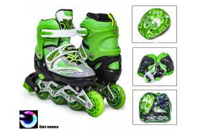 Набор детские ролики Раздвижные Happy Sport Green 29-33,34-38-фото