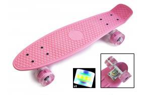 Penny Board. Нежно-розовый цвет. Светящиеся колеса.-фото