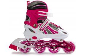 Детские роликовые коньки раздвижные Power Champs малиновые 29-33, 34-37-фото