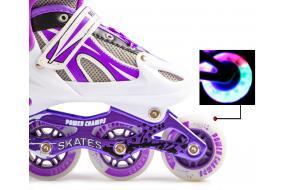 Ролики Детские Раздвижные Power Champs Фиолетовый цвет 29-33, 34-37-фото
