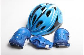Шлем для роликов синий с регулировкой размера + защита-фото