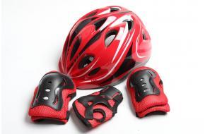 Шлем для роликов красный с регулировкой размера + защита-фото
