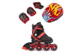 Комплект Роликовые коньки+защита+шлем Caraman красные -фото