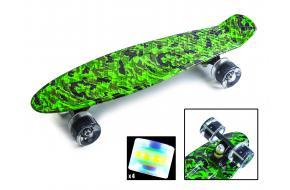 Penny Board. Принт Military|Зелёный камуфляж. Светящиеся колеса.-фото
